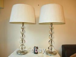Large Pair Of Heavy Chrome And Glass Table Lamps With Vintage Shades