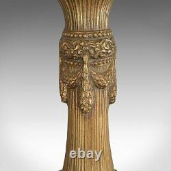Large, Pair Of Vintage Candlesticks, Asian, Gilt Metal, Decorative Torchere