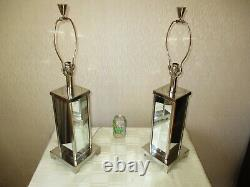 Large Pair Of Vintage Mirrored Chrome Table Lamps With Vintage Shades