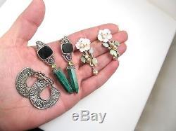 Lot Of 12 Pairs Vintage Sterling Silver Earrings Gemstones Cz Hoops Studs Estate