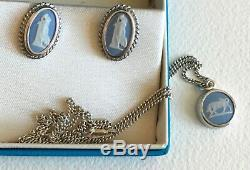 Lovely Vintage Wedgwood Blue, Necklace & 2 pairs of earrings, New Price $129