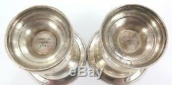 MATCHING PAIR VINTAGE TIFFANY & Co STERLING SILVER SMALL SQUAT VASES