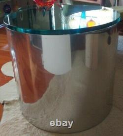 MCM Vintage Pair Steel Metal Glass Drum End Tables Paul Mayen Architectural Supp