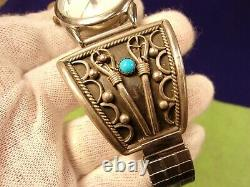 Massive Pair Of Exceptional Vtg Sterling Silver & Turquoise Watch Cuffs & Band