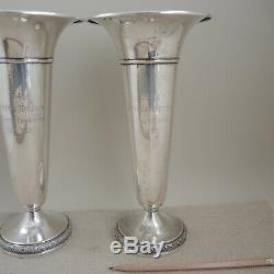 Matched Pair Sterling Silver Golf Trophy 1949 Santa Barbara 10 Trumpet Vase Vtg