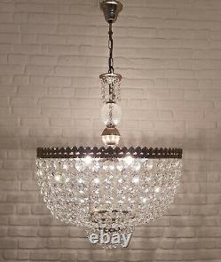 Matching Pair of Antique Vintage Brass & Crystals GIANT Chandeliers 20 inches Ø