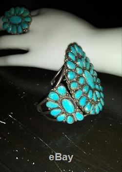 NAVAJO Silver TURQUOISE cluster cuff BRACELET & RING pair VINTAGE