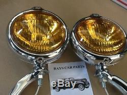 New Pair 12 Volt Small Vintage Style Fog Lights With Fog Cap / Chrome Brackets