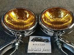 New Pair 6 Volt Small Vintage Style Fog Lights With Chrome Brackets
