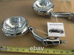 New Pair Of Clear 12 Volt Small Vintage Style Fog Lights With Chrome Brackets