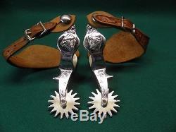 Nice Good Vintage Pair Of Ricardo Nickel Silver Western Cowboy Spurs
