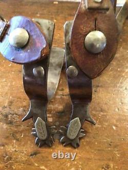 Nice Vintage Pair Of Crockett Silver Mounted Hard Working Western Cowboy Spurs
