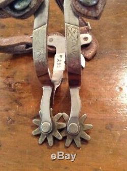 Nice Vintage Pair Of Crockett Silver Mounted Western Cowboy Spurs-great Pattern