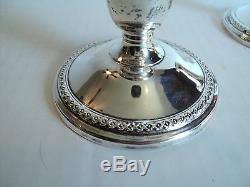 Nice Vintage Pair ROGERS Sterling Silver 3 Weighted Candlesticks, #201 15