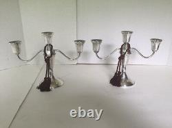 Nice Vintage Sterling Pair Duchin Weighted Triple/Single Candle Candelabras