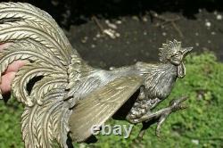 Old Big Pair Vintage Silver Metal Fighting Cocks Roosters Sculpture Statues N/r