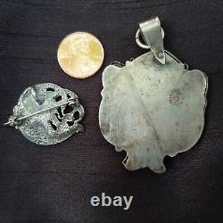 PAIR Antique Art Nouveau Sterling Silver Slide Locket & Vintage Brooch/Pendant