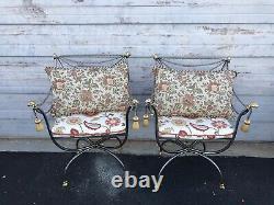 PAIR Hollywood Regency Rams Head/Hoof Vintage Gilt Metal Rope & Tassel Chairs