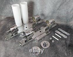 PAIR Large Vintage 1930s Machine Age Art Deco Chrome Cylinder Sconces RESTORED