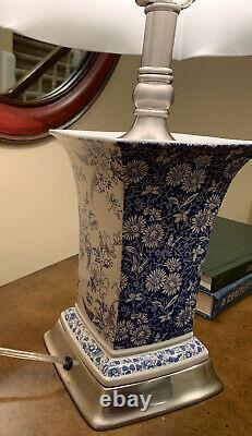 PAIR OF VINTAGE SPODE TABLE LAMPS, RARE, BLUE/WHITE, SATIN SILVER TRIM WithSHADES