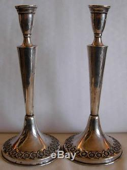 PAIR OF VINTAGE STERLING SILVER CANDLE STICKS With RAISED ROSES JEWISH JUDAICA