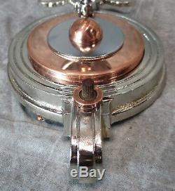 PAIR VTG 1930's Art Deco Chrome & Copper Sconces withVaseline Shades RESTORED