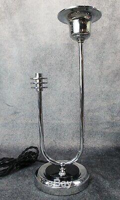 PAIR VTG 1930's Deskey Rohde Era Machine Age Art Deco Chrome Lamps RESTORED