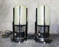 PAIR VTG 1930's Machine Age Art Deco Chrome & Black Cylinder Lamps RESTORED