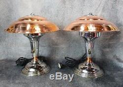 PAIR VTG 1930's Machine Age Art Deco Chrome & Copper Desk/Table Lamps RESTORED