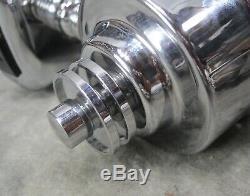 PAIR VTG 1930's Machine Age Art Deco Chrome Milk Glass Cylinder Sconces RESTORED