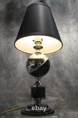 PAIR VTG 1933 Worlds Fair Art Deco Chrome & Black Saturn Lamps RESTORED