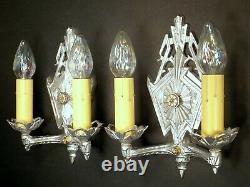 PAIR Vintage 1930s Art Deco Machine Age Iron Wall Light Fixture Sconces REWIRED