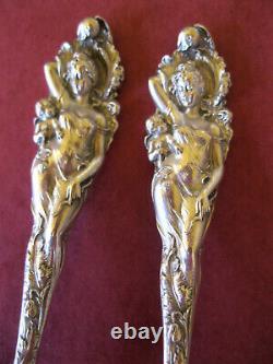 PAIR Vintage 5 1/8 Spoons LOVE DISARMED Sterling Silver REED & BARTON Figural