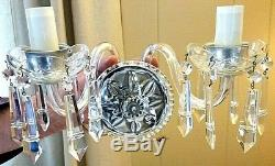PAIR Vintage Crystal Chandelier Wall Sconces With 2 arms 12 Prisms each fixture