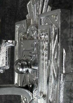 PAIR Vintage Historic Art Deco Chrome Slip Shade Stag Sconces c. 1930 RESTORED