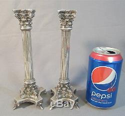 PAIR Vintage Ornate 999 STERLING SILVER ISRAEL CORINTHIAN COLUMN Candlesticks
