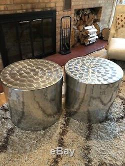 PAIR of Large Authentic Vintage Paul Mayén Habitat Metal Drum Storage Tables MCM