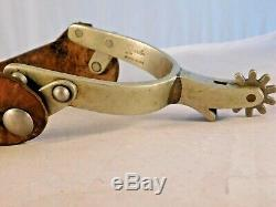 PAIR of VINTAGE RICARDO NICKEL SILVER ENGRAVED SPURS with LEATHER STRAPS
