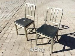 PAIR of Vintage Goodform Brushed Aluminum Navy Chairs Emeco GF