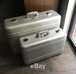 PAIR of Vintage Zero Halliburton Aluminum Suitcases w Peacock Blue Lining