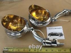 Pair 12 Volt Small Vintage Style Fog Lights / Visors And Chrome Brackets