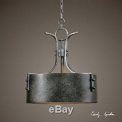 Pair 26 Aged Metal Hanging Chandelier Pendant Light Vintage Industrial Decor