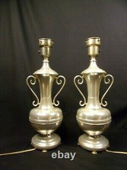 Pair (2) Vintage 1930's 40's Silver plated Lamps wiring functions Urn Fine 20