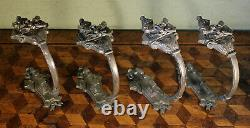 Pair 2 Vintage French Empire Silver Metal Curtain Tie Back Hooks Chateau Antique