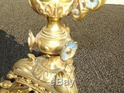 Pair 36H Vintage Gold Table Top Floral Candelabras Brass Candle Holders Light