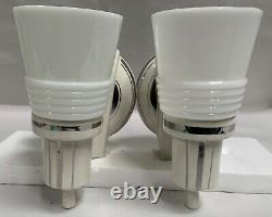 Pair AMAZING Vtg Deco Porcelain Bathroom Sconces With Silver Accent Stripes A75