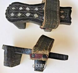 Pair Antique 19c Ottoman Nalin Hammam Silver MOP Carve Wood Leather Clogs Shoes