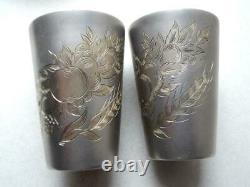 Pair Antique Vintage Soviet Russian Sterling Silver 875 Etched Wine Cups 100gr