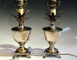 Pair Antique or Vintage Silver Plated Brass Pineapple Lamps