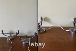 Pair Art Deco 1920 1920 table console lamps lampes chrome silver working vintage
